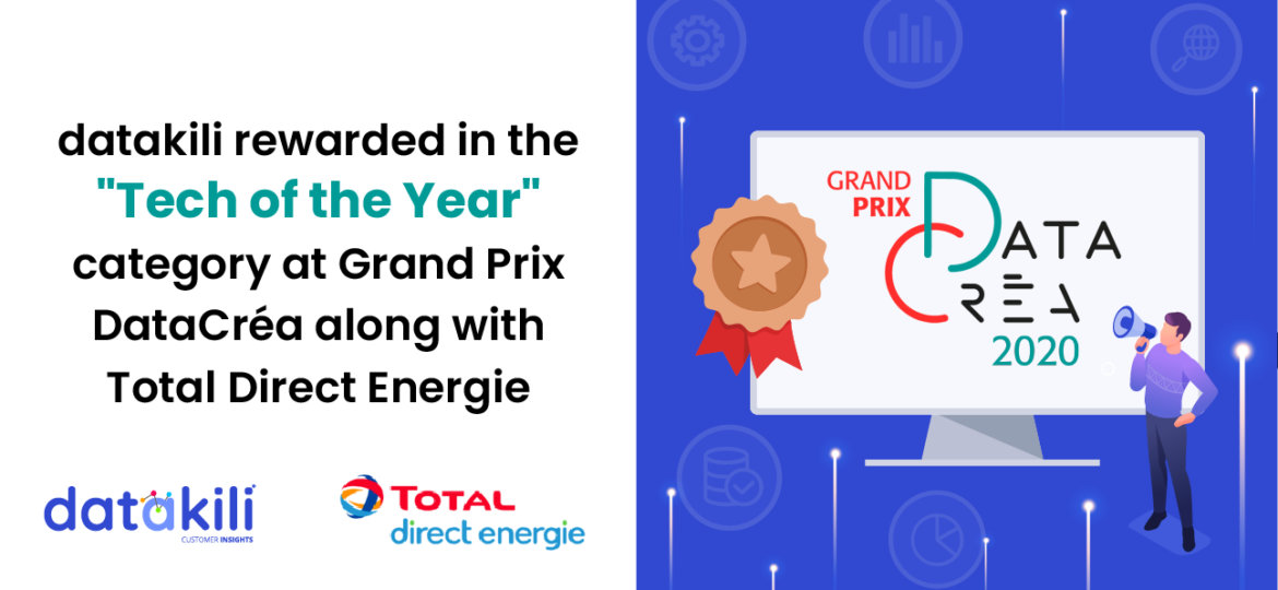 "datakili was rewarded in the ""Tech of the Year"" category at Grand Prix DataCréa along with Total Direct Energie"